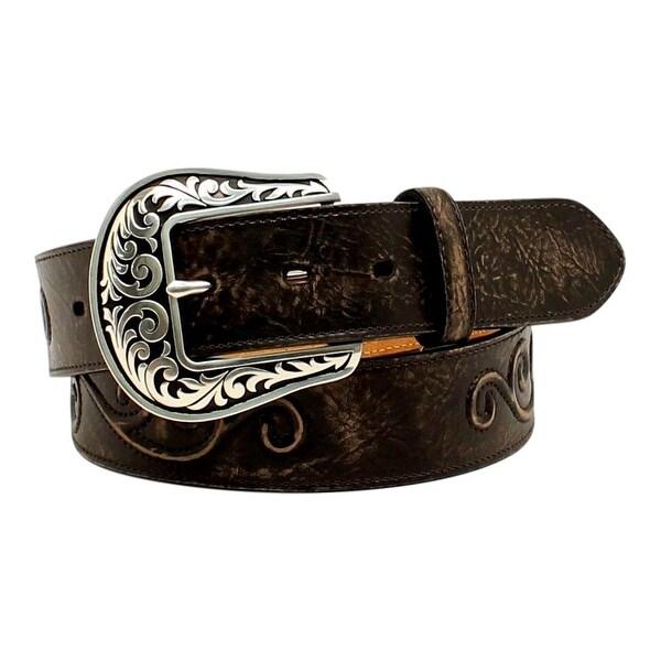 Nocona Western Belt Womens Leather Conchos Scroll Roped Black