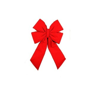 """11"""" x 20"""" Commercial 4-Loop Red Velveteen Christmas Bow Decoration"""