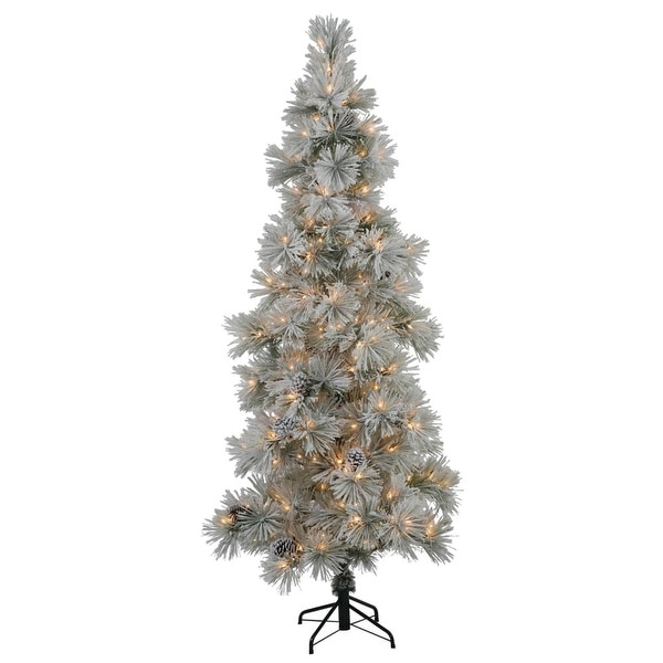7' Slim Flocked Stone Pine Artificial Christmas Tree - Clear Dura Lights