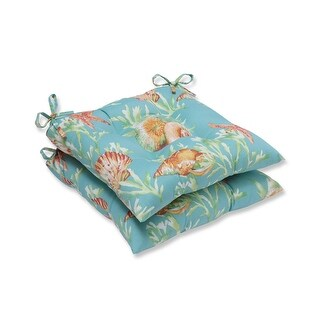 "19"" Blue and Green Tropical Island Decorative Outdoor Patio Seat Cushion"