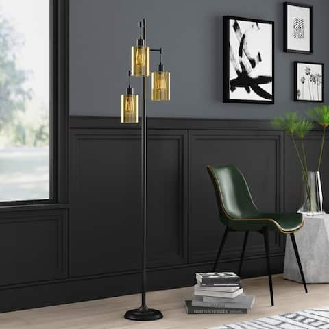 Valido Amber Glass Track Tree Floor Lamp, Oil Rubbed Bronze - 1 Pack