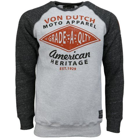 Von Dutch Fleece Tee Mens Top Casual T-Shirt Long Sleeve - White