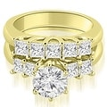 1.50 cttw. 14K Yellow Gold Princess and Round Cut Diamond Engagement Bridal Set - Thumbnail 0
