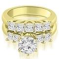 1.50 cttw. 14K Yellow Gold Princess and Round Cut Diamond Engagement Bridal Set - Thumbnail 0