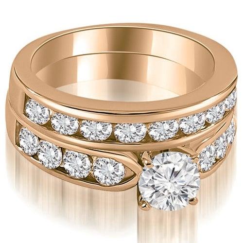 2.70 cttw. 14K Rose Gold Classic Channel Set Round Cut Diamond Bridal Set,HI,SI1-2