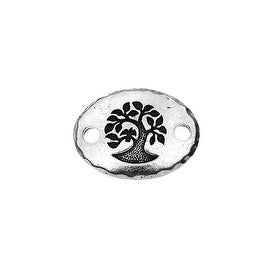 TierraCast Pewter, Oval Connector Link with Tree, 19.5x14.5mm, 1 Piece, Antiqued Silver Plated
