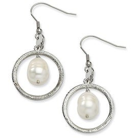 Chisel Stainless Steel Circle with Fresh Water Pearl Dangle Earrings