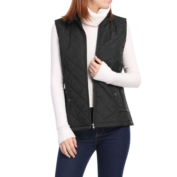 Women's Front Zip Up Stand Collar Mock Pockets Quilted Padded Vest