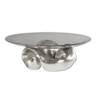 """17"""" Carolyn Kinder Glass Bowl with Modern Champagne Silver Leaf Entwined Stand"""