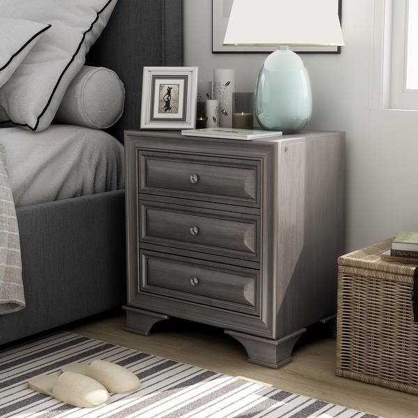 Furniture of America Oslo Transitional 3-drawer Nightstand with USB