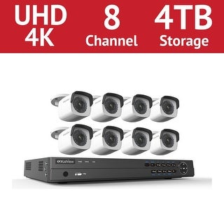 LaView 8 Channel UHD 4K IP NVR with (8) 4MP Bullet Cameras and a 4TB HDD - White