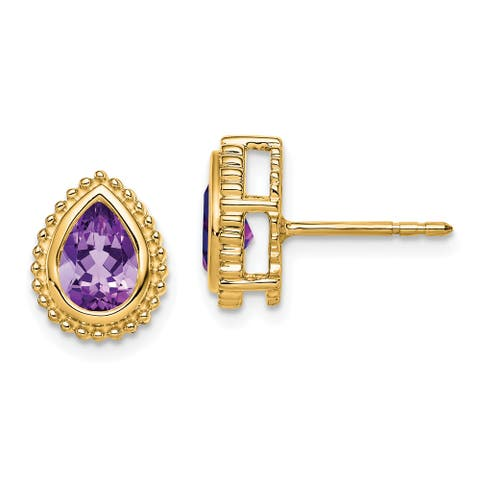 14K Yellow Gold Polished Pear Amethyst Post Earrings by Versil
