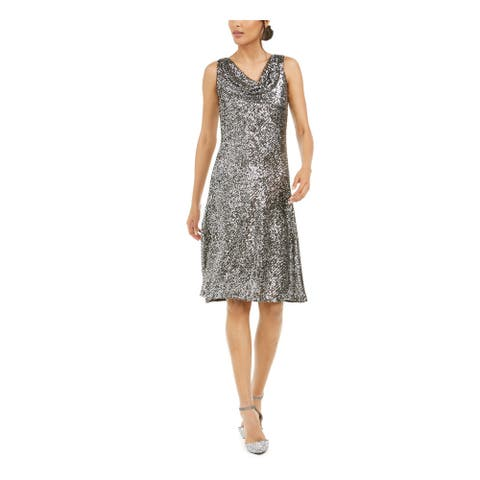 TAYLOR Silver Above The Knee Fit + Flare Dress Size 14
