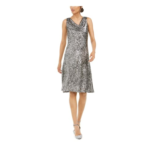 TAYLOR Womens Silver Above The Knee Fit + Flare Evening Dress Size 6