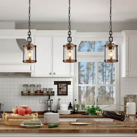 "Modern Farmhouse Pendants Lighting for Kitchen Island Faux Wood Hanging Ceiling Lamp - W 6""x H 14.5"" - W 6""x H 14.5"""