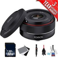 Rokinon AF 35mm f/2.8 FE Lens for Sony E IO35AF-E + Deluxe Cleaning Kit + 32GB SDHC Class 10 Memory Card Bundle - black
