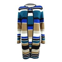 Calvin Klein Women's Petite Striped Long Cardigan - Blue/Multi