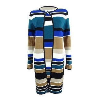 Calvin Klein Women's Petite Striped Long Cardigan - Blue/Multi