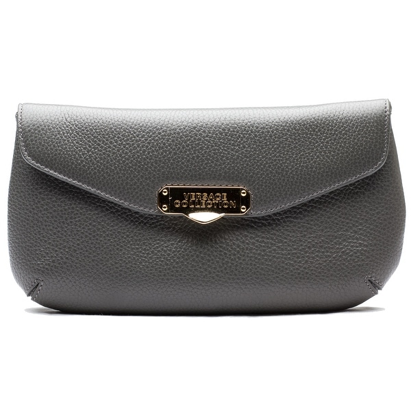 Versace Collection Pebbled Leather Clutch Handbag - Grey - S