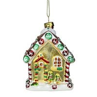 "3.75"" Gingerbread Kisses Frosted Glass House Christmas Ornament - Brown"