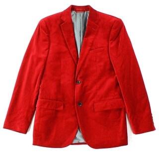 Alfani NEW Dark Red Mens Size 40 Regular Two Button Velvet Sports Coat