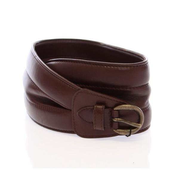 Dolce & Gabbana Brown Leather Logo Waist Belt - 85-cm-34-inches