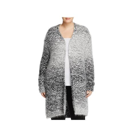 Bobeau Womens Plus Harper Cardigan Sweater Eyelash Open Front