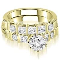 1.74 cttw. 14K Yellow Gold Princess And Round Cut Diamond Bridal Set