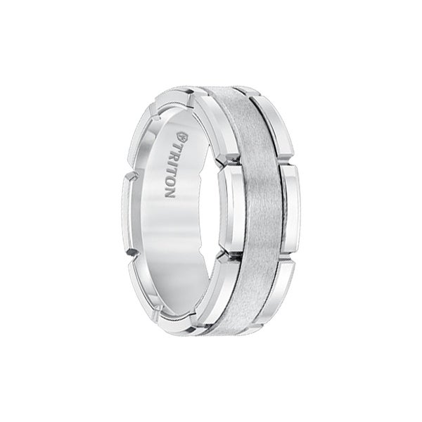 JUSTIN White Tungsten Carbide Flat Comfort Fit Band W/Brush Center & Bright Rims by Triton Rings - 8mm
