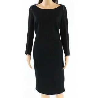 Akris Punto NEW Black Nude Womens Size 10 Mesh-Insert Sheath Dress
