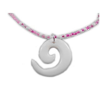 """Charming Shark Boys Beaded with Bone Round Necklace 18"""" Pink"""