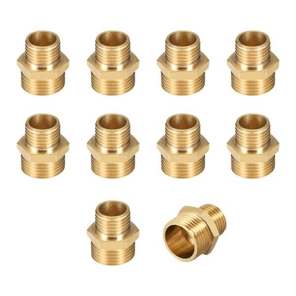 "Brass Pipe Fitting Reducing Hex Nipple 1/4""x3/8"" G Male Pipe Brass Fitting 10pcs - 1/4"" to 3/8"" G Male 10pcs"