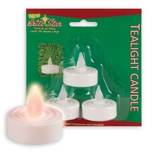 "Pack of 3 Off-White Flameless Yellow Flickering LED Christmas Tea Light Candles 1.5"" - N/A"