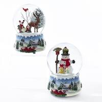 """Pack of 4 Musical Santa and Snowman Rotating Christmas Water Globes 3.94"""" - WHITE"""