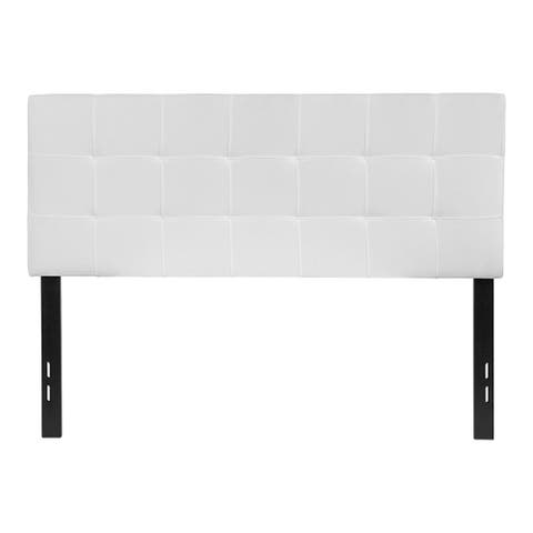 Offex Contemporary Tufted Upholstered Full Size Panel Headboard in White Fabric