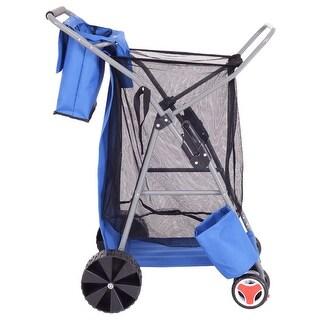 Gymax Foldable Beach Wonder Tote Cart Folding Storage