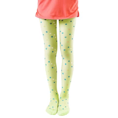 Girl Semi Sheer Four Leaf Clover Pattern Footed Tights Green 3T-4T