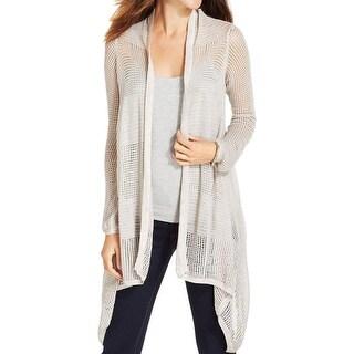 DKNY Jeans Womens Juniors Cardigan Sweater Open Front Asymmetric
