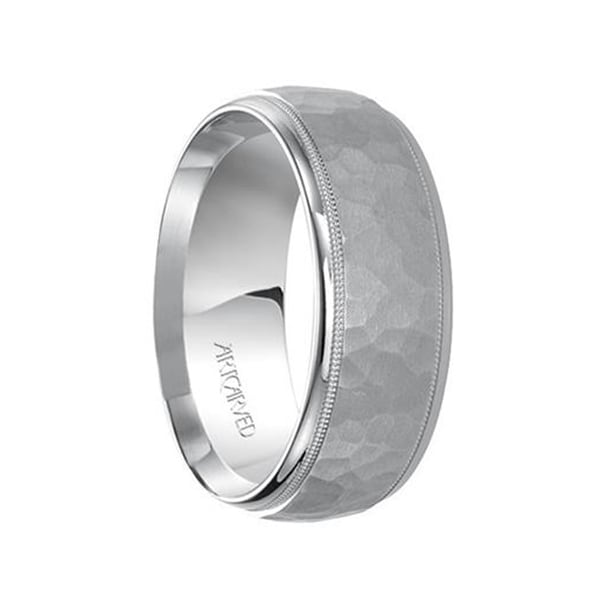 46db2ad619547 WOODBRIDGE 14k White Gold Wedding Band Raised Hammered Satin Finish with  Dual Milgrain Rolled Edges by Artcarved - 8mm