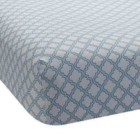 Lambs & Ivy Blue Ryan Collection Fitted Crib Sheet - Lattice Teal