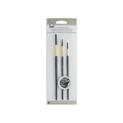 61114 plaid folkart brush lettering brush set 3pc