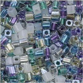 Miyuki 4mm Glass Cube Beads Color Mix Serenity Greens Purples 10 Grams