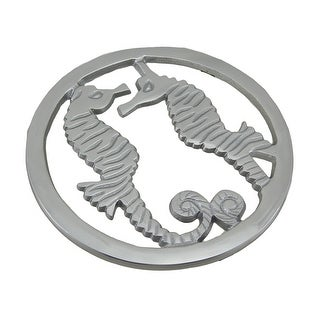 Twin Seahorse Decorative Polished Aluminum Trivet 7.5 Inch