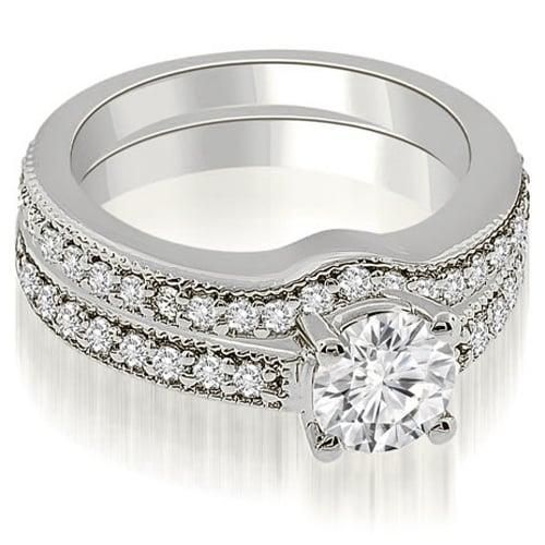 1.29 cttw. 14K White Gold Antique Cathedral Round Diamond Bridal Set