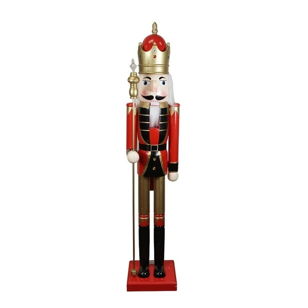 5' Decorative Commercial Size Red King Wooden Christmas Nutcracker with Scepter