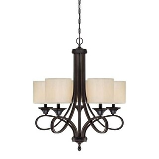 """Westinghouse 6302900 Lenola 5 Light 7"""" Wide Single Tier Shaded Chandelier with Fabric Shades"""