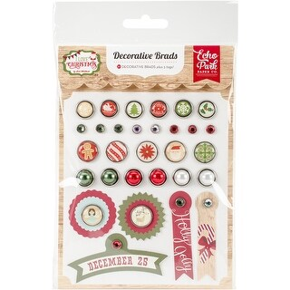 I Love Christmas Decorative Brads-30 Brads, 5 Tags