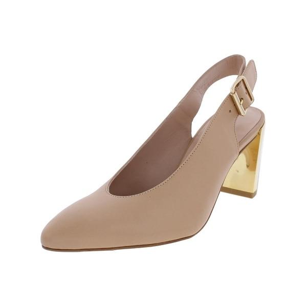 Stuart Weitzman Womens Lamella Block Heels Leather Pointed Toe