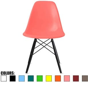 2xhome Pink - Eames Style Bedroom & Dining Room Side Ray Chair with Eiffel Dark Wood Dowel Legs