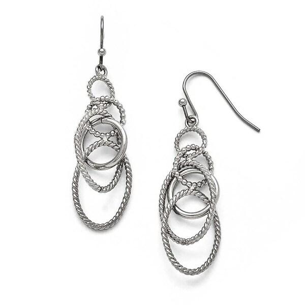 Chisel Stainless Steel Polished Oval Shepherd Hook Dangle Earrings